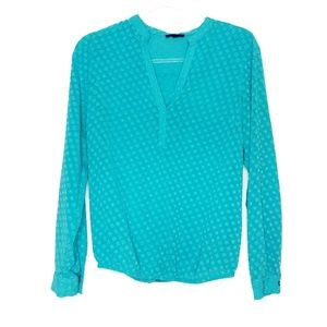The Limited (S) Teal Long Sleeve Chiffon Top